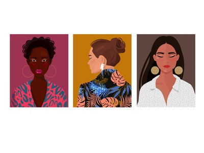 portrait 2 pattern branding fashion glamour typography simple woman people artwork design illustration character beauty