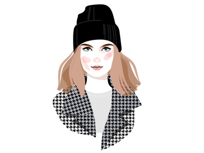 Girl in hat lifestyle cosmetics fashion poster avatar female face sticker design illustration character