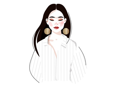 girl with earrings design earings beauty product illustration fashion glamour sticker cartoon female character