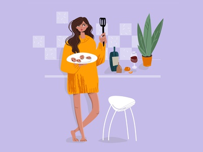 A young beautiful girl in the kitchen prepares cookies wine dinner delicious cuisine cooking chef person happy interior vector cartoon female illustration character