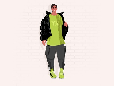 Trendy guy fashion illustration guy lifestyle casual millennial caucasian face sticker vector design cartoon illustration character