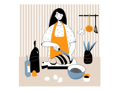 A young beautiful girl in the kitchen slices bread beauty face sticker cartoon design illustration female character ui