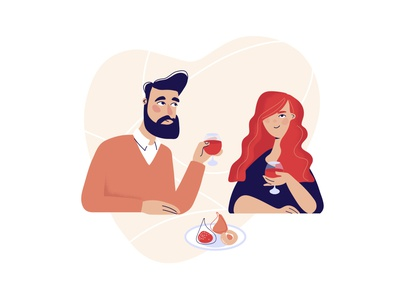 Valentine s Day dating wine male female cartoon illustration flat couple celebrate party character