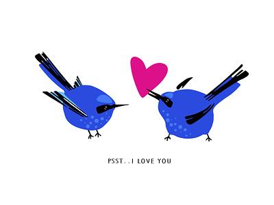 Psst...I love you love cartoon illustration valentine day birds character