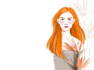 Red-haired girl and sterlitzia cosmetics beauty glamour fashion sticker female design illustration character