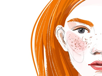 Red-haired girl and sterlitzia. Details ginger cosmetics illustration design cartoon glamour fashion female character