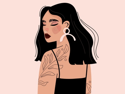 My entry for a DTIYS challenge by Ainhoa Garciaih female character tattoo illustration female face fashion glamour dtiys character