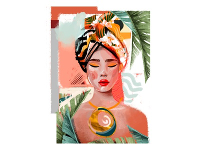 mulatto girl scarf palm fashion female character tropical african woman portrait poster collage