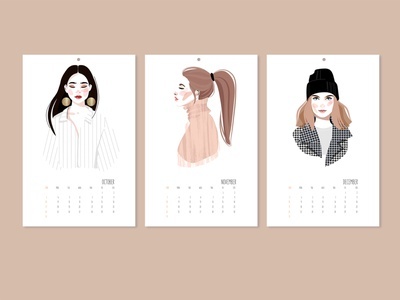 Calendar Design 2 sticker beauty typography portrait face female glamour calendar cartoon illustration character