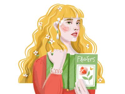 DTIYS Spring girl fashion glamour face illustration female botanical book girl challenge dtiys character