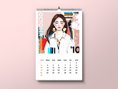 calendar  template october woman girl typography template calendar fashion illustration female character