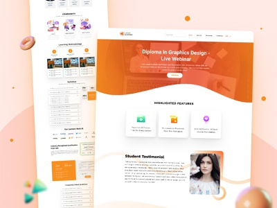 Landing Page Design for Euston Academy 2021 trend learning management system landing page landing page design lms templates