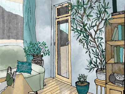 Room with a view illustration
