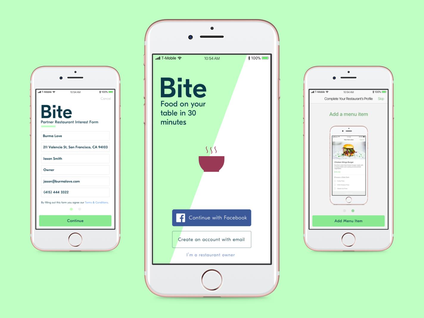 Bite food delivery app