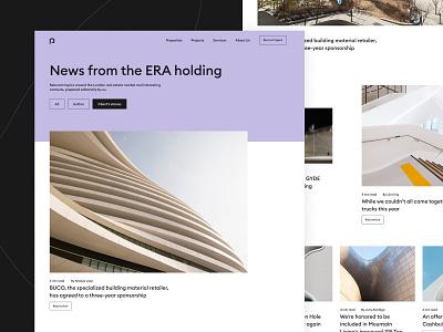 Website for Era holding building architecture concept flat branding website web minimal design ux ui