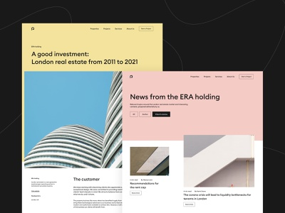 Website for Era holding building architecture concept flat branding website web minimal design ux ui