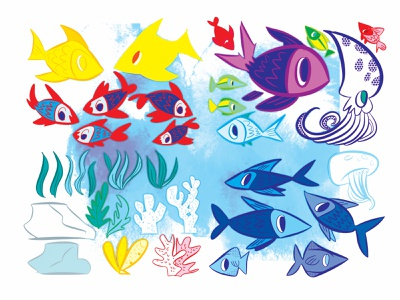 fish clean character design kidlitart illustration