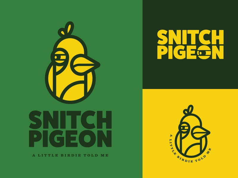Snitch Pigeon cute funny green logo yellow logo pigeon snitch retro branding fun orlando logo character design illustration