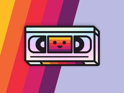 Happy VHS holographic kawaii nineties eighties tape vhs sticker retro fun orlando character funny cartoon cute design illustration