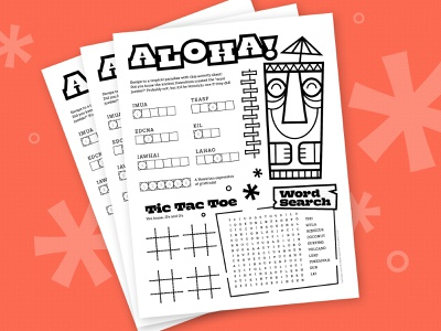 Aloha Worksheet branding game typography layout illustration cute orlando character cartoon activity worksheet tiki aloha hawaii design