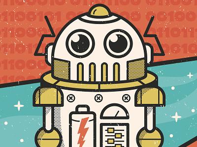 Retro Robot halftone robot vector retro orlando character funny cartoon cute design illustration