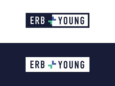 Erb and Young Logo logo design insurance plus blue logo branding orlando design