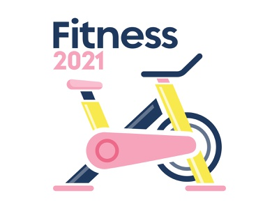 2021 Resolutions – Fitness 2021 gym stationary bike fitness resolutions new years exercise retro fun orlando cute illustration design