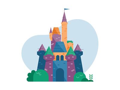 DizNee Castle Illustration florida kids disney theme park castle color vector retro fun orlando cartoon cute illustration design