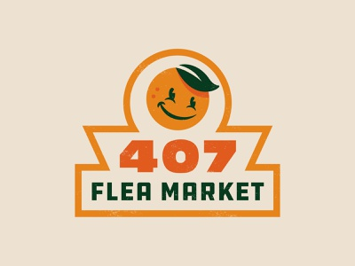 407 Flea Market orange retro vintage identity branding logo character orlando cute illustration design