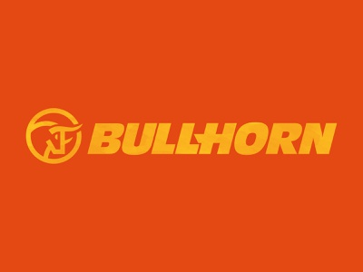 Bullhorn Construction Logo construction animals identity yellow orange bullhorn branding logo orlando illustration design
