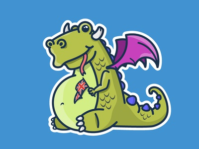 UK Mythical Dragons character design creature monster green myth great britain england cute funny dragon cartoon illustratio
