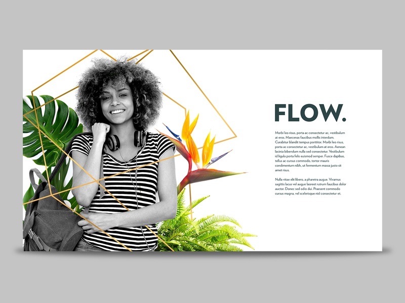 Flow Layout Concept modern portrait black and white plants layout typography branding design