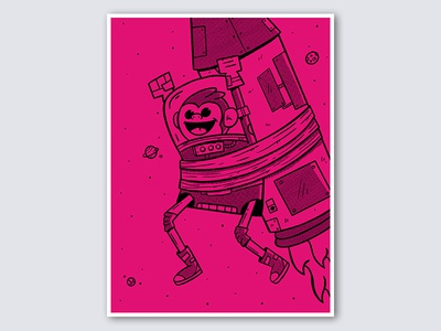 Space Race? retro halftone monkey magenta space orlando character funny cartoon cute design illustration
