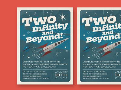Space Birthday Invitation childrens kids retro rocket space birthday layout typography cartoon cute illustration design