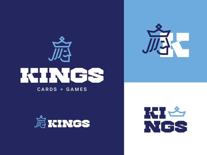 KINGS Cards and Games hobbies games cards king brand design blue fun retro branding orlando logo design illustration