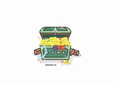 Cursed Treasure jewel coins minimal curse treasure chest vector logo symbol icon