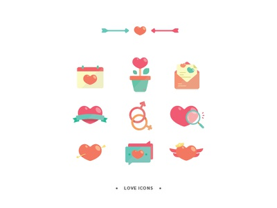 Love Icons flat illustration heart love minimal icons