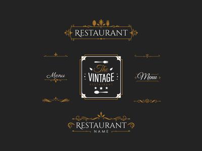 Vintage Elements badges label emblem vintage restaurant