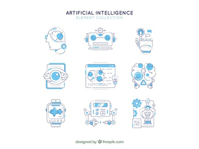 Artificial Intelligence Icons technology elements icon artificial intelligence ai freepik