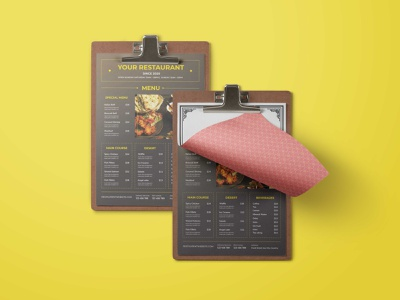 Restaurant Fast Food Menu Design latest psd mockup design illustration