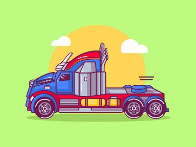 Vector graphic illustration of Optimus Truck with cute style trucking optimus mascot mascotlogo cute illustration trucks transformer optimus prime truck vector minimal illustration icon flat design art