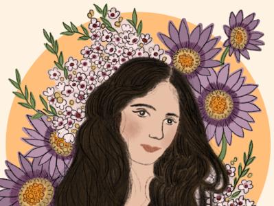 Evelyn Nesbit editorial portrait illustration portrait flowers nature procreate illustration