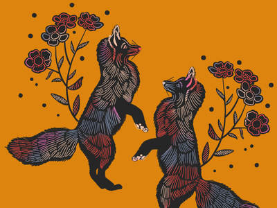 Fox folkart animal drawing fox illustration fox foxes flowers nature procreate illustration