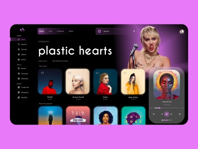 play after - Music Streaming Dashboard music player purple dark website design applications music app web design music website web beats app application icon logo branding design ux ui design ui
