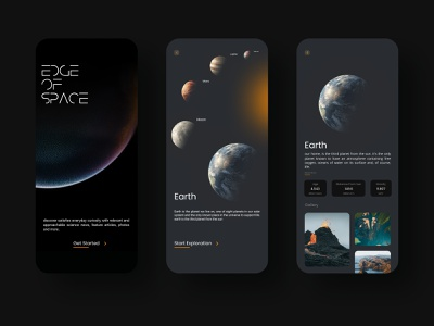 Edge of space education plante space earthday mobile simple figma application app minimal ux ui design ui design
