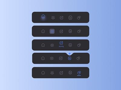 Navigation bar mobile app bottom bar navigate dark blue modern navigation menu dark mobile app mobile navigation icon simple figma navigation bar application app minimal ui design ux ui design
