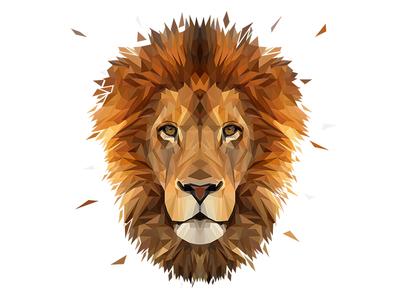 Low Poly Glitch Lion