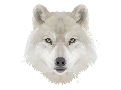 Low Poly Glitch Arctic Wolf