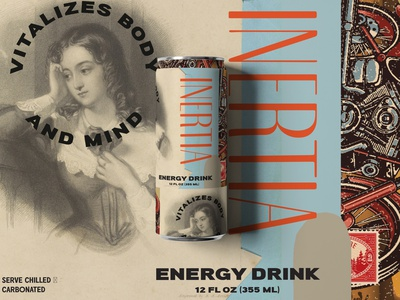 Inertia Energy Drink black and white collage modern retro vintage can drink mockup typeface energy drink