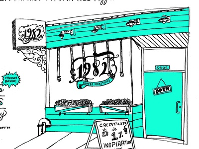 1982 Coffee diy restaurants foods single origin handlettering typography cafe coffee illustration two color zine
